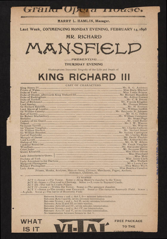 Grand Opera House, King Richard III (February 14, 1898).jpg
