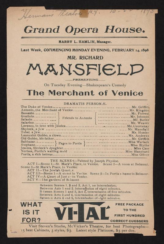 Grand Opera House, Merchant of Venice (February 14, 1898).jpg