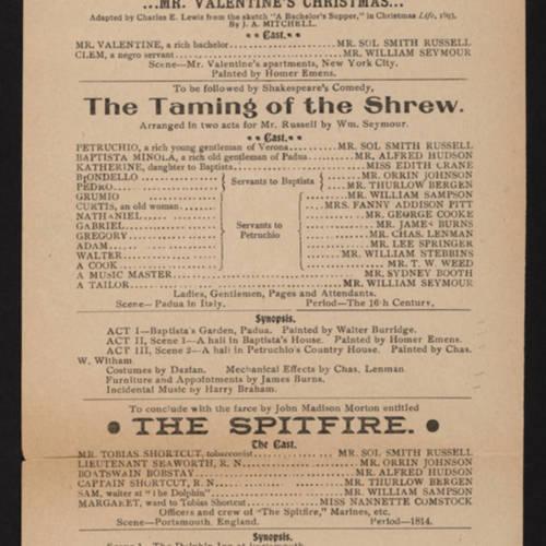 Hooley's Theatre, Taming of the shrew (December 6, 1897).jpg
