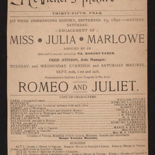 McVicker's Theatre, Romeo and Juliet (September 19, 1892).jpg