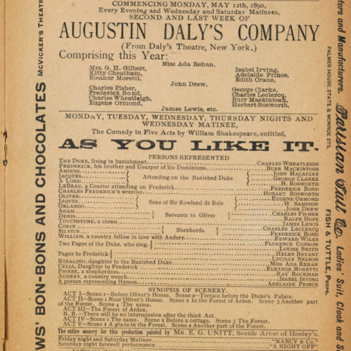 Hooley's Theatre, As you like it (May 12, 1890).jpg