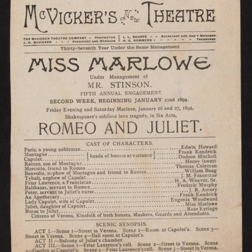 McVicker's Theatre, Romeo and Juliet (January 22, 1894).jpg