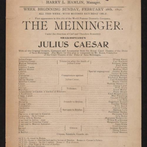 Grand Opera House, Julius Caesar (February 28, 1892).jpg