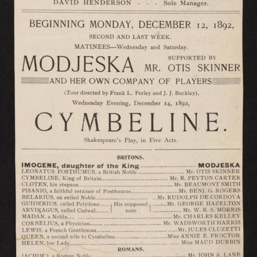 Chicago Opera House, Cymbeline (December 12, 1892).jpg