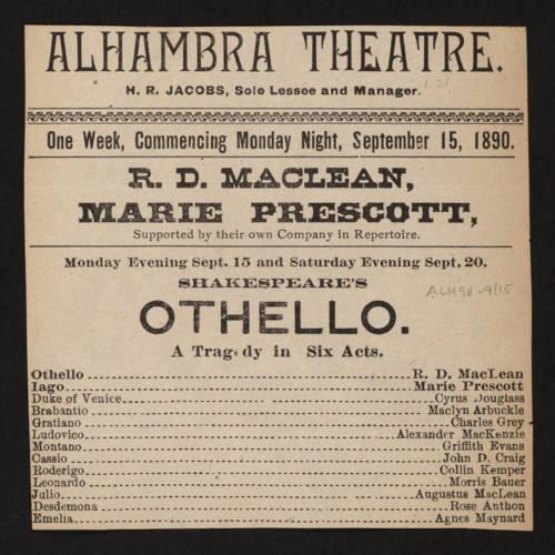 Alhambra Theatre, Othello (September 15, 1890).jpg