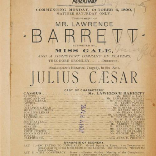 Chicago Opera House, Julius Caesar (October 6, 1890).jpg