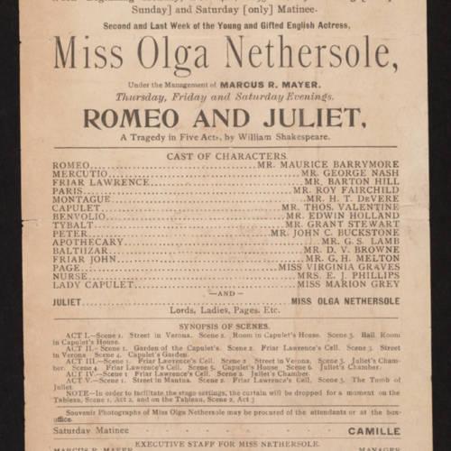 Hooley's Theatre, Romeo and Juliet (February 4, 1895).jpg