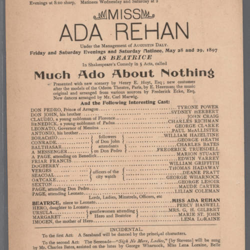 Hooley's Theatre, Much ado about nothing (May 28, 1897).jpg