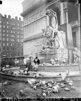 Fountain of the Great Lakes with a Flock of Pigeons
